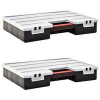 vidaXL Assortment Boxes 2 pcs with Adjustable Dividers 460x325x80 mm Plastic