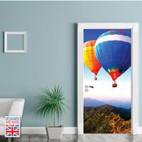 Door Mural Sticker Hot Air Balloon Adventure, Home Decoration, Decal