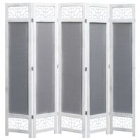 vidaXL 5-Panel Room Divider Grey 175x165 cm Fabric