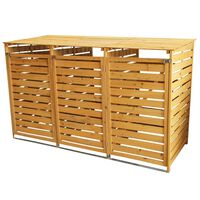 Triple Wooden Wheelie Bin Store Outdoor Garden Storage Shed