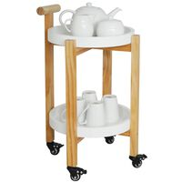 Wood Drinks / Tea Trolley - White / Natural
