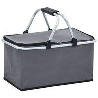 vidaXL Foldable Cool Bag Grey 46x27x23 cm Aluminium