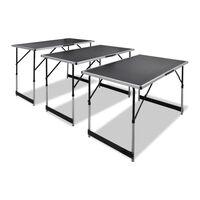 vidaXL Pasting Table 3 pcs Foldable Height Adjustable