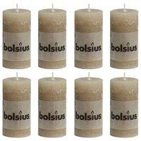 Bolsius Rustic Pillar Candles 8 pcs 100x50 mm Pastel Beige