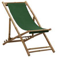 vidaXL Deck Chair Bamboo and Canvas Green