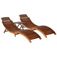 vidaXL 3 Piece Sunlounger with Tea Table Solid Acacia Wood