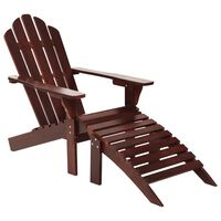 vidaXL Garden Chair with Ottoman Wood Brown