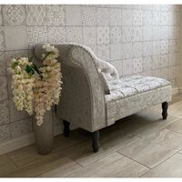 Silver Grey Crushed Velvet Upholstered Chaise Longue Sofa Bench