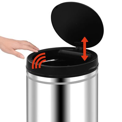 vidaXL Automatic Sensor Dustbin 60 L Stainless Steel