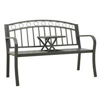 vidaXL Garden Bench with a Table 125 cm Steel Grey