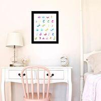Framed Arabic Alphabet Art Canvas Printing, and Nursery Decoration