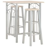 vidaXL 3 Piece Bar Set Wood and Steel