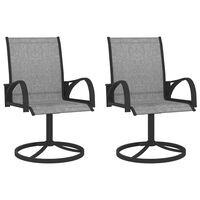 vidaXL Garden Swivel Chairs 2 pcs Textilene and Steel Grey