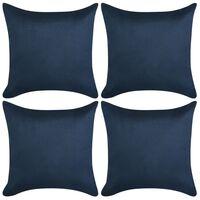 vidaXL Cushion Covers 4 pcs 80x80 cm Polyester Faux Suede Navy