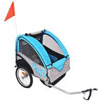 vidaXL Kids' Bicycle Trailer Grey and Blue 30 kg