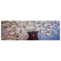 vidaXL Canvas Wall Print Set Flowers in a Vase Multicolour 120x40 cm