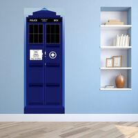 Door Mural Sticker Police Station 88 x 200cm, Home Decoration, Decal