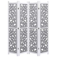 vidaXL 4-Panel Room Divider Grey 140x165 cm Solid Wood