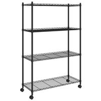 vidaXL 4-Tier Storage Shelf with Wheels 90x35x142 cm Black 200 kg