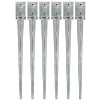 vidaXL Ground Spikes 6 pcs Silver 9x9x90 cm Galvanised Steel