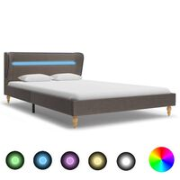 vidaXL Bed Frame with LED Taupe Fabric 120x190 cm