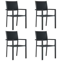 vidaXL Garden Chairs 4 pcs Black Plastic Rattan Look