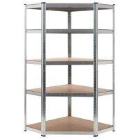 vidaXL Storage Shelf Silver 90x90x180 cm Steel and MDF