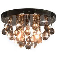 vidaXL Ceiling Lamp with Smoky Beads Black Round G9