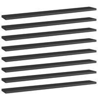 vidaXL Bookshelf Boards 8 pcs High Gloss Black 80x10x1.5 cm Chipboard