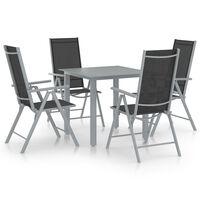 vidaXL 5 Piece Garden Dining Set Aluminium Silver and Black