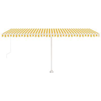 vidaXL Freestanding Manual Retractable Awning 500x300 cm Yellow/White
