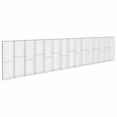 vidaXL Gabion Wall with Covers Galvanised Steel 900x50x200 cm