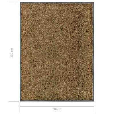 vidaXL Doormat Washable Brown 90x120 cm