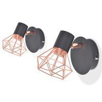 vidaXL Wall Lamp 2 pcs E14 Black and Copper