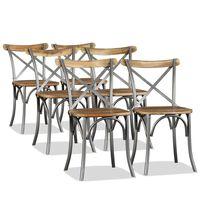 vidaXL Dining Chairs 6 pcs Solid Mango Wood and Steel Cross Back