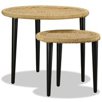 vidaXL Coffee Table Set 2 Pieces Natural Jute