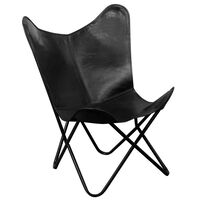 vidaXL Butterfly Chair Black Real Leather