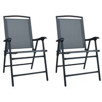 vidaXL Folding Garden Chairs 2 pcs Texilene Grey