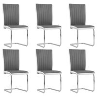 vidaXL Cantilever Dining Chairs 6 pcs Grey Faux Leather