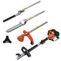 vidaXL 4-in-1 Multi-tool Hedge&Grass Trimmer, Chain Saw, Brush Cutter