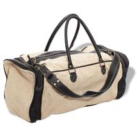 vidaXL Weekend Bag Canvas and Real Leather Beige