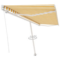 vidaXL Freestanding Manual Retractable Awning 500x350 cm Yellow/White