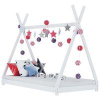vidaXL Kids Bed Frame White Solid Pine Wood 90x200 cm