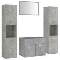 vidaXL Bathroom Furniture Set Concrete Grey Chipboard