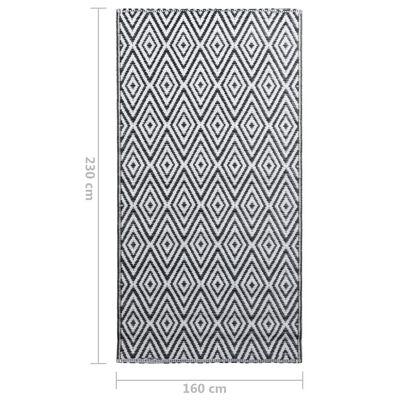 vidaXL Outdoor Carpet White and Black 160x230 cm PP