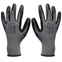 vidaXL Work Gloves Nitrile 24 Pairs Grey and Black Size 9/L