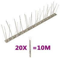 vidaXL 5-row Stainless Steel Bird & Pigeon Spikes Set of 20 10 m