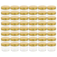 vidaXL Glass Jam Jars with Gold Lid 48 pcs 110 ml