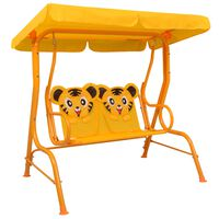 vidaXL Kids Swing Bench Yellow 115x75x110 cm Fabric