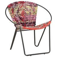 vidaXL Circle Chair Multicolours Chindi Fabric